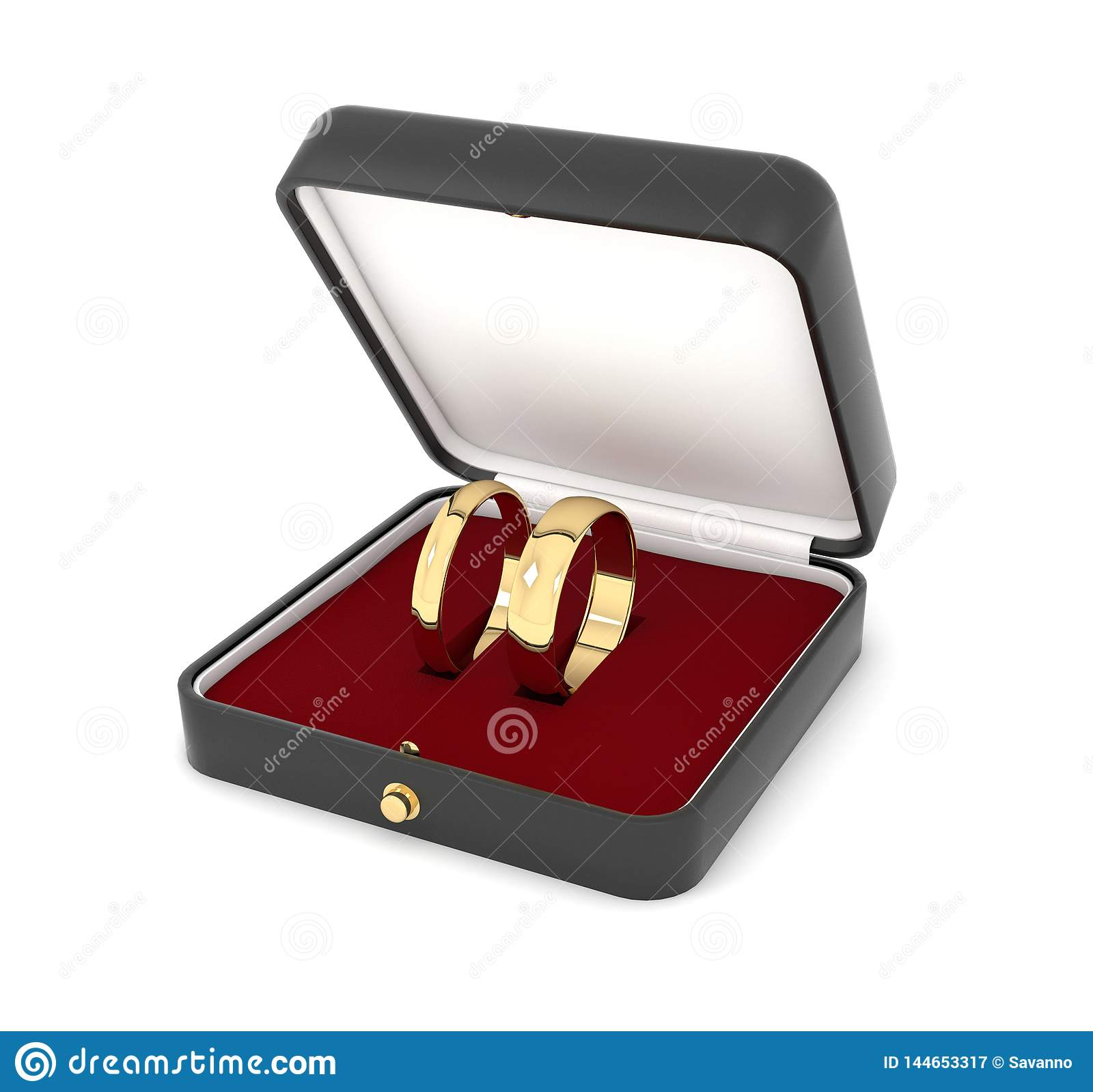 Wedding Rings In A Jewelry Box. 3d Rendering Illustration ...