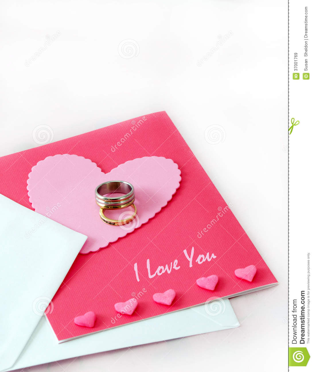 wedding rings and a love card stock image image of day heart