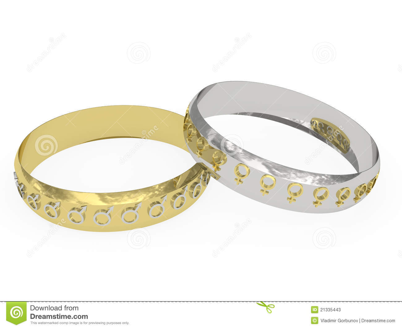 Wedding rings with male and female symbols stock photos for Wedding rings for male and female