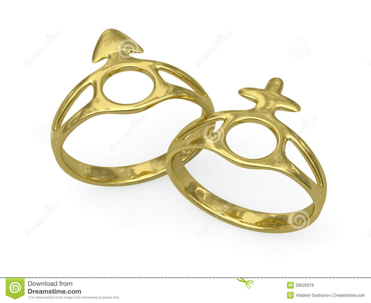 Wedding rings with male and female symbols stock for Wedding rings for male and female