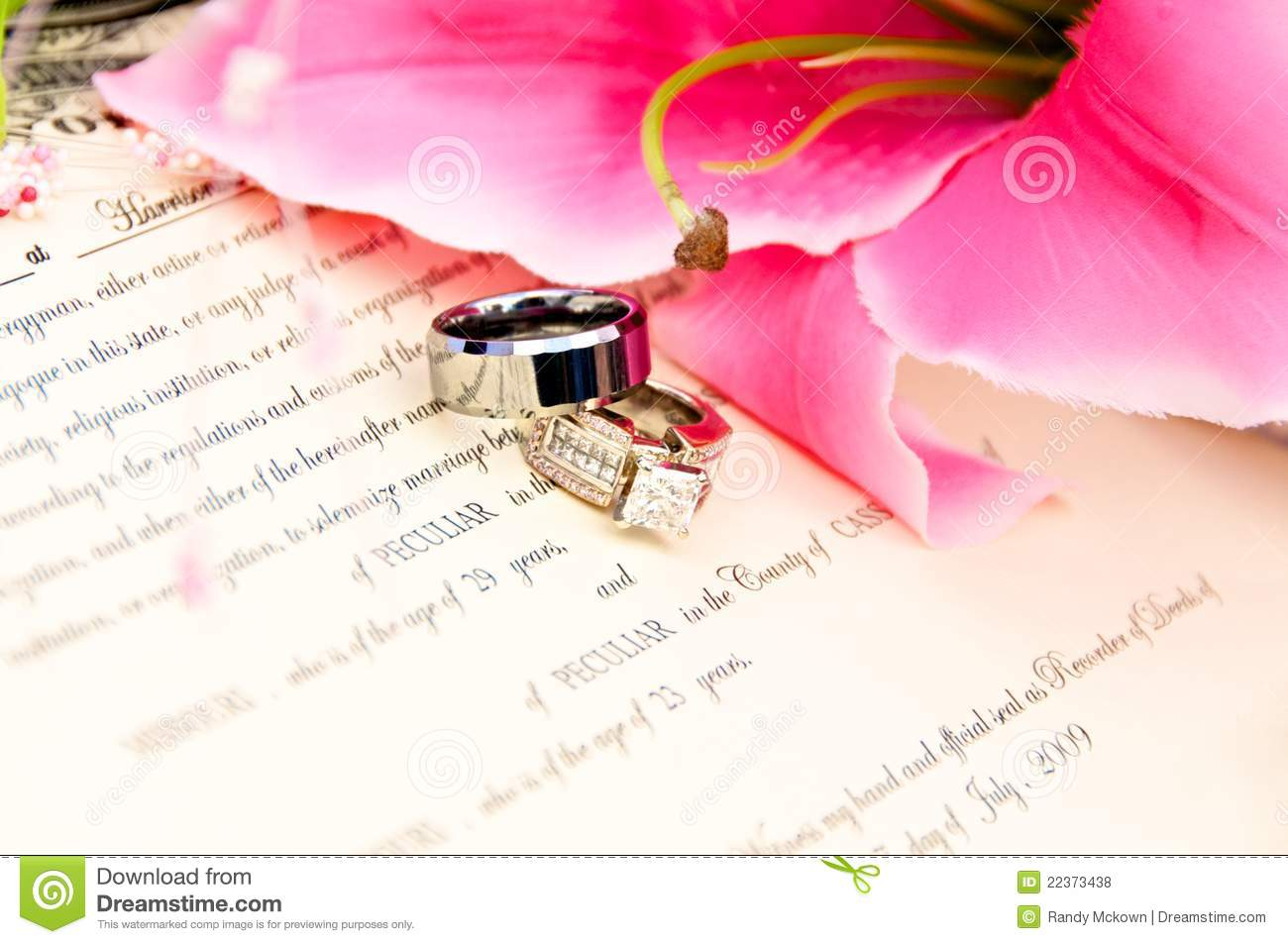 Wedding Rings On Marriage License Stock Photo - Image of jewelry ...