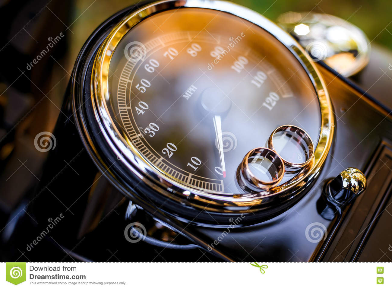 Wedding Rings On A Motorcycle Speedometer Stock Image Image Of