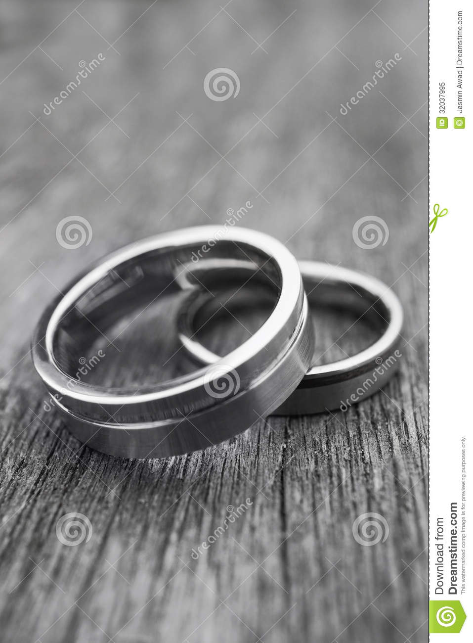 Wedding Rings On Old Wood In Black And White