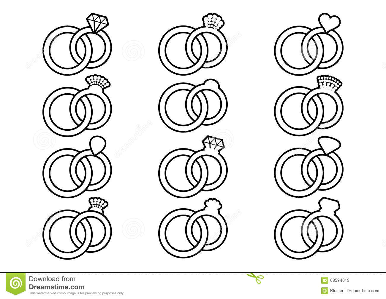 Wedding Rings Outline Icons Stock Vector Illustration Of Bride