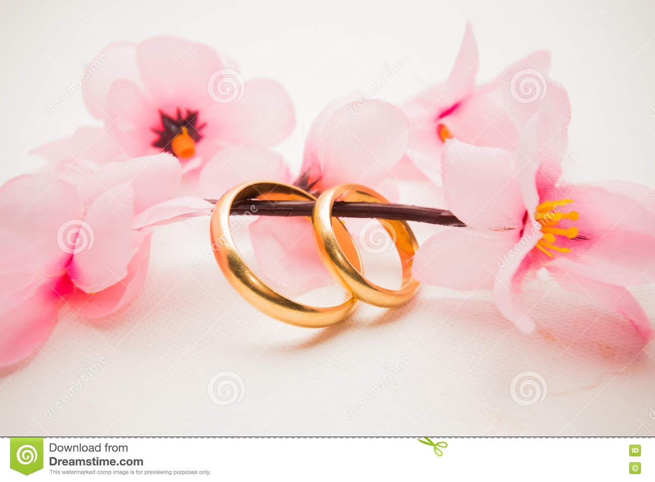 Wedding Rings And Pink Flowers Stock Image - Image of ceremony ...