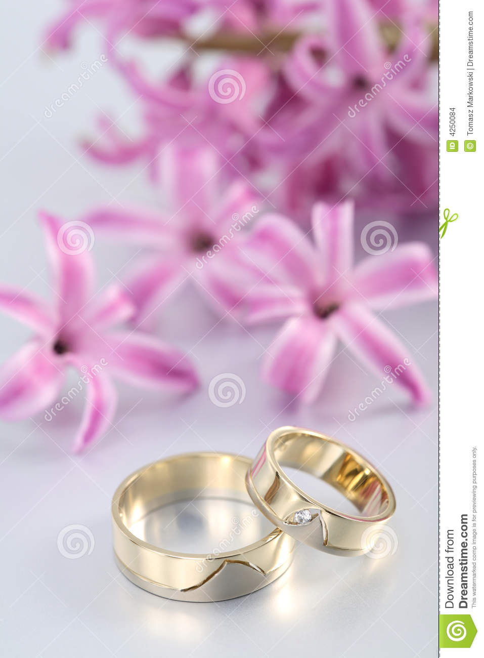 Wedding Rings & Purple Blooms Stock Photo - Image of commitment ...