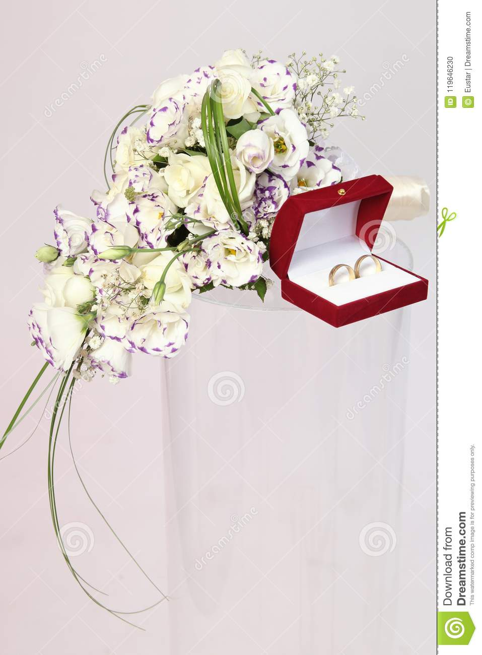 Wedding Rings In Red Box With A White Bridal Bouquet Stock Photo ...