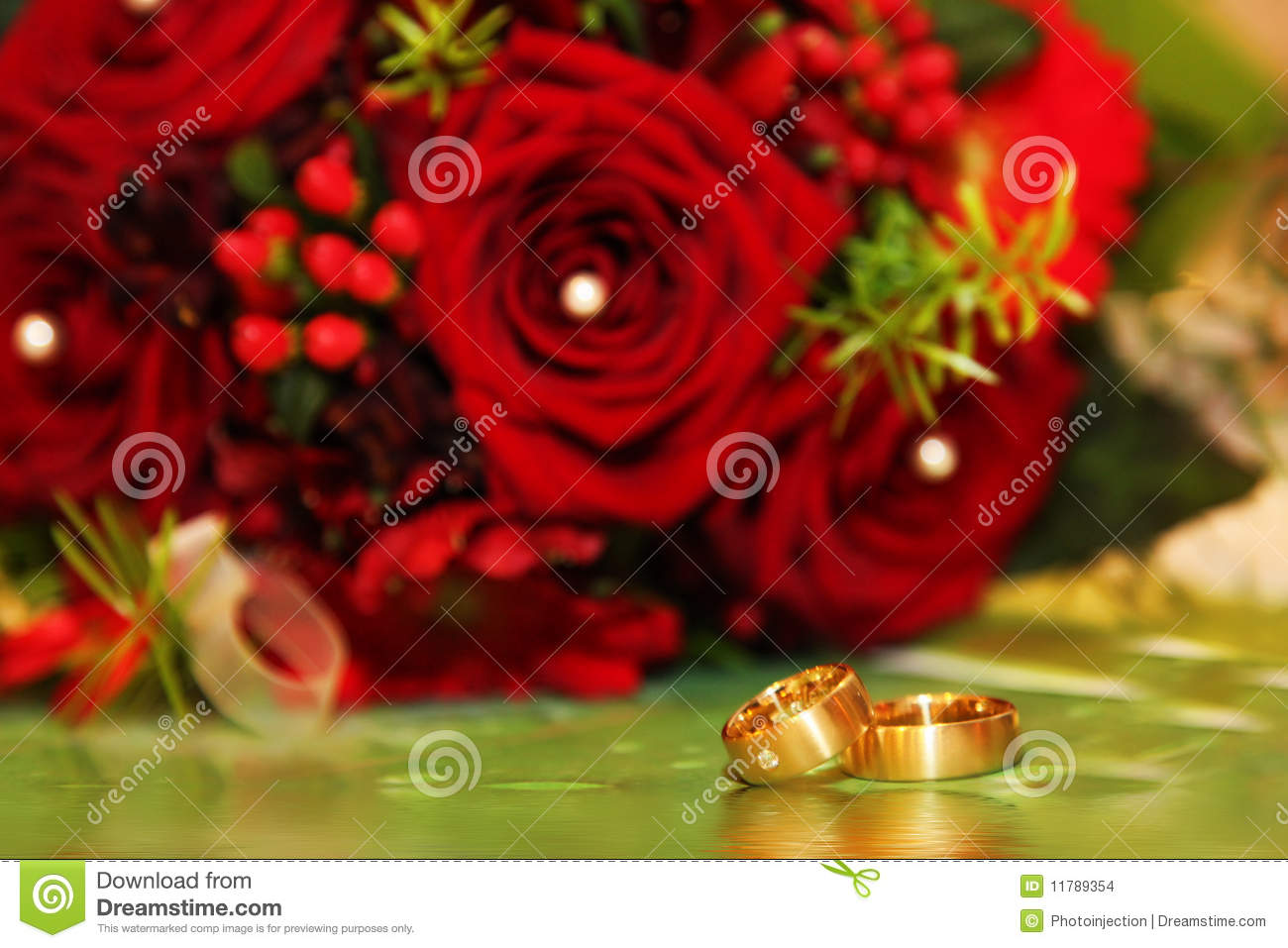 Wedding Rings And Red Roses Stock Photo Image Of Present