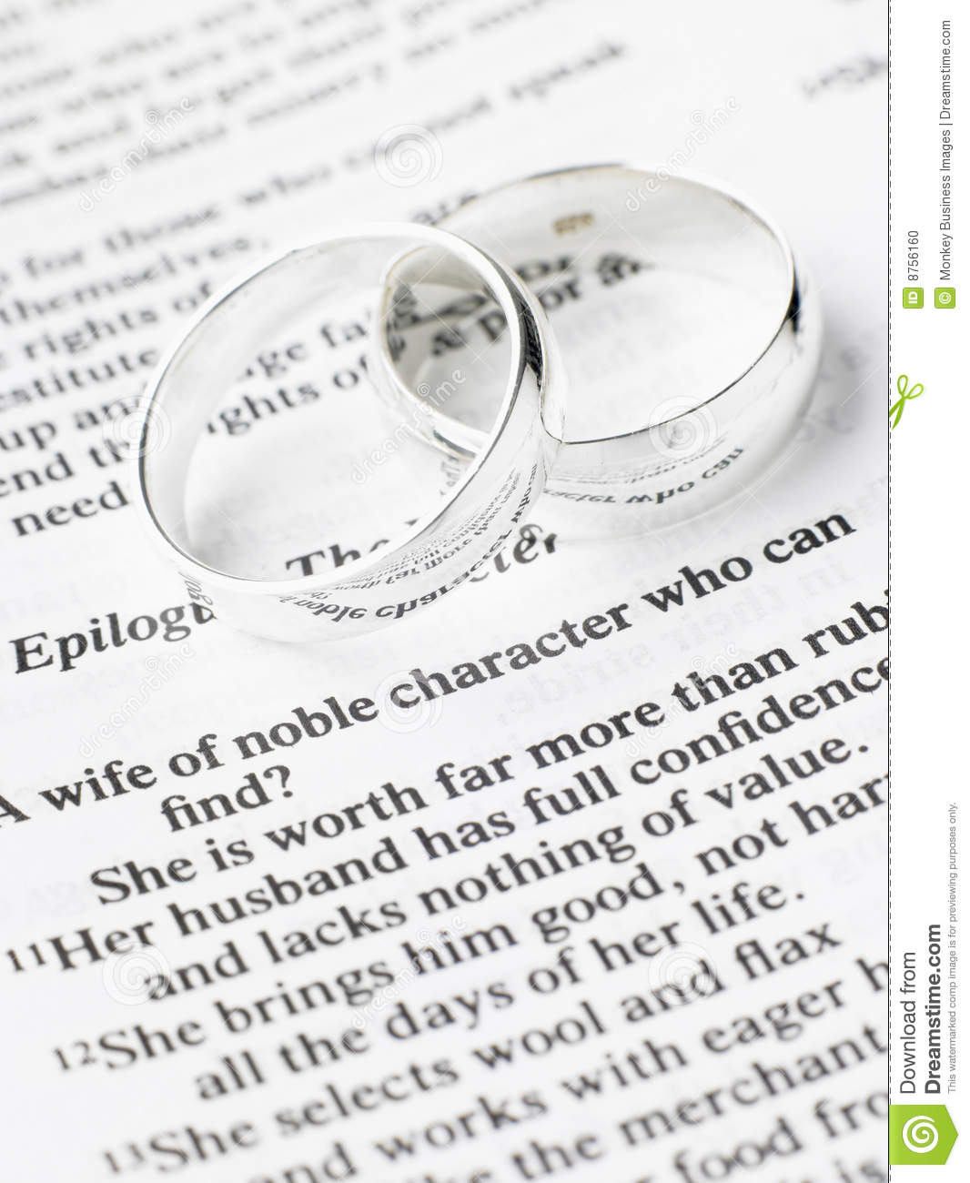 Wedding Ring Bible Quotes: Wedding Rings Resting On A Bible Stock Photo