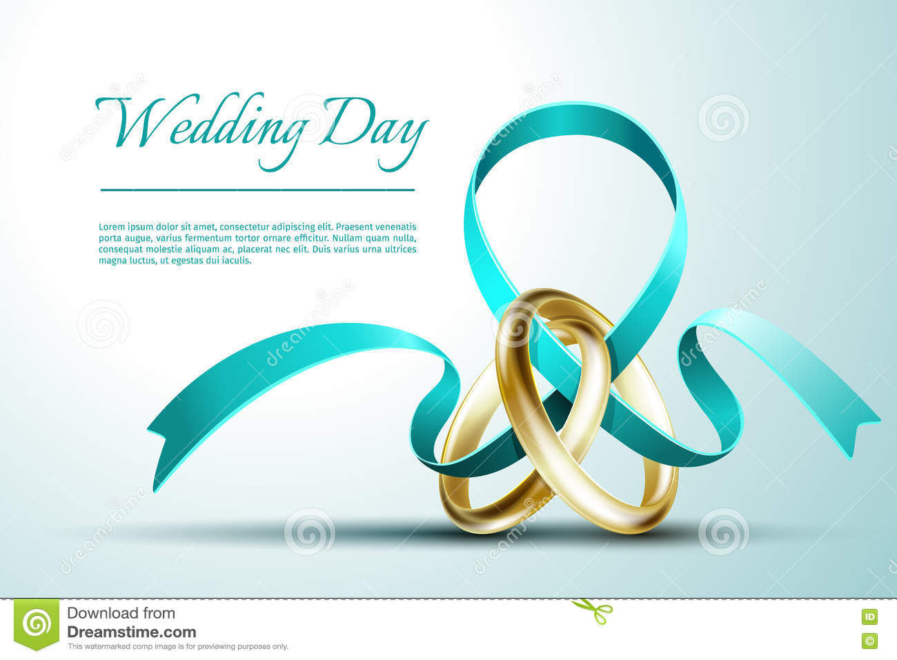 Wedding Rings With Ribbon Invitation Card Vector Template Stock