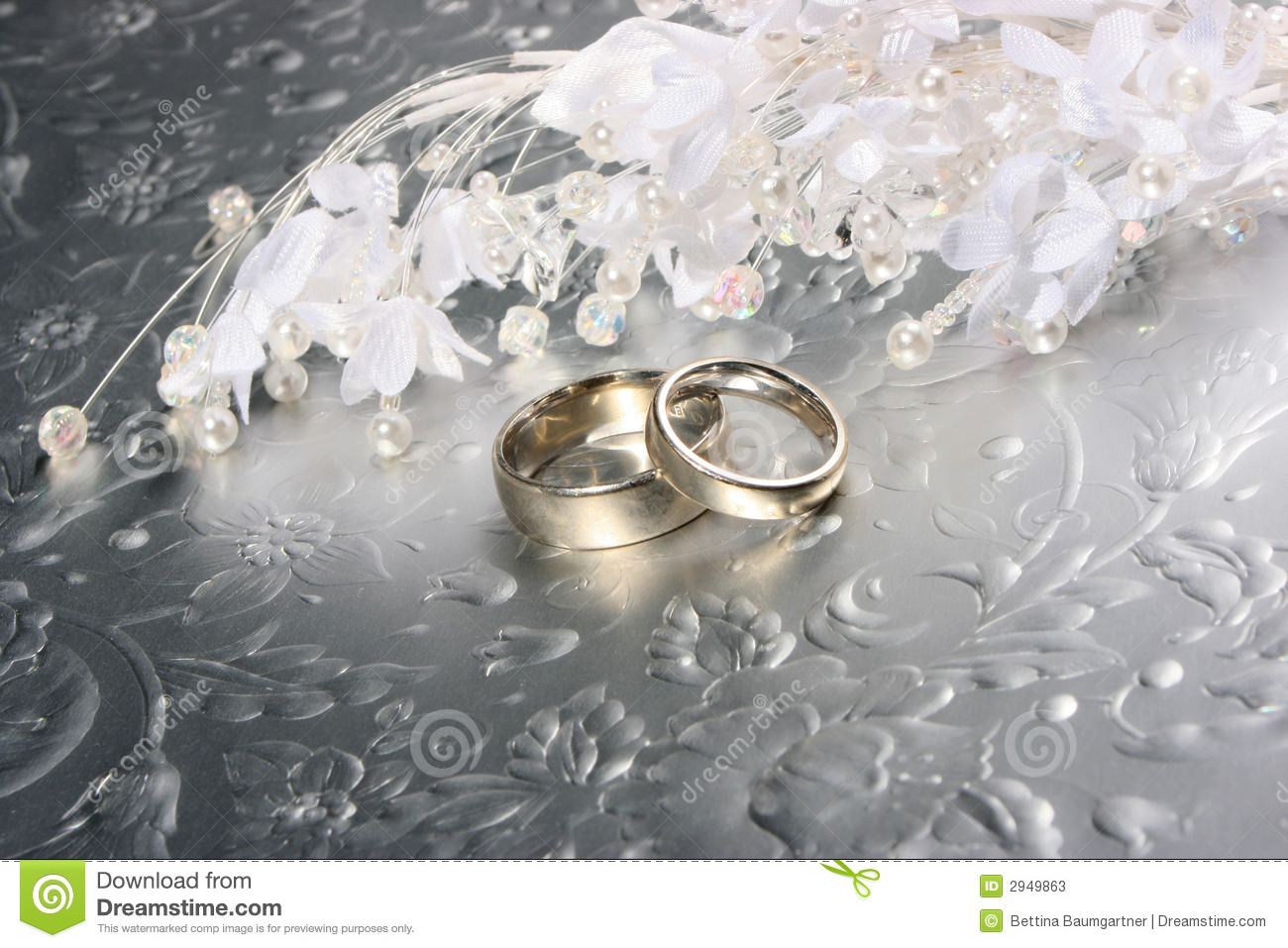 Wedding Rings On Silver Background Stock Photos Image