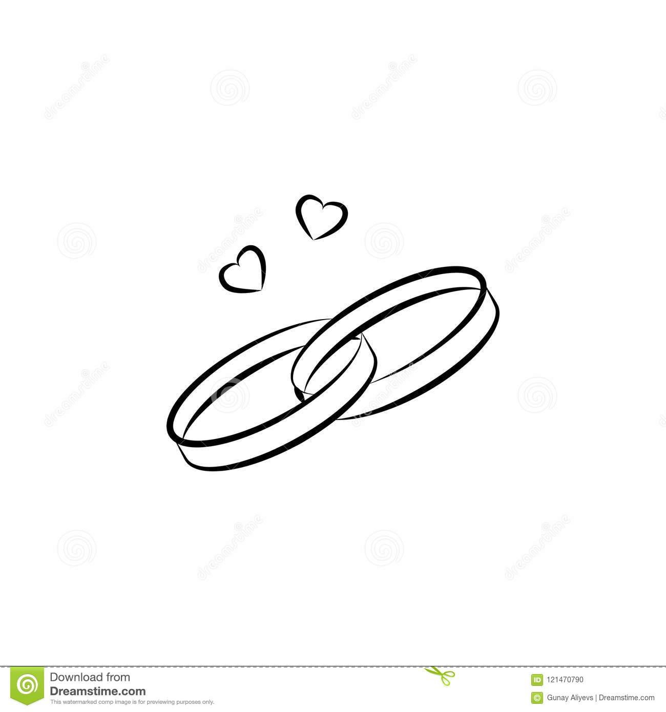 Wedding Rings Sketch Illustration Element Of Wedding Icon For