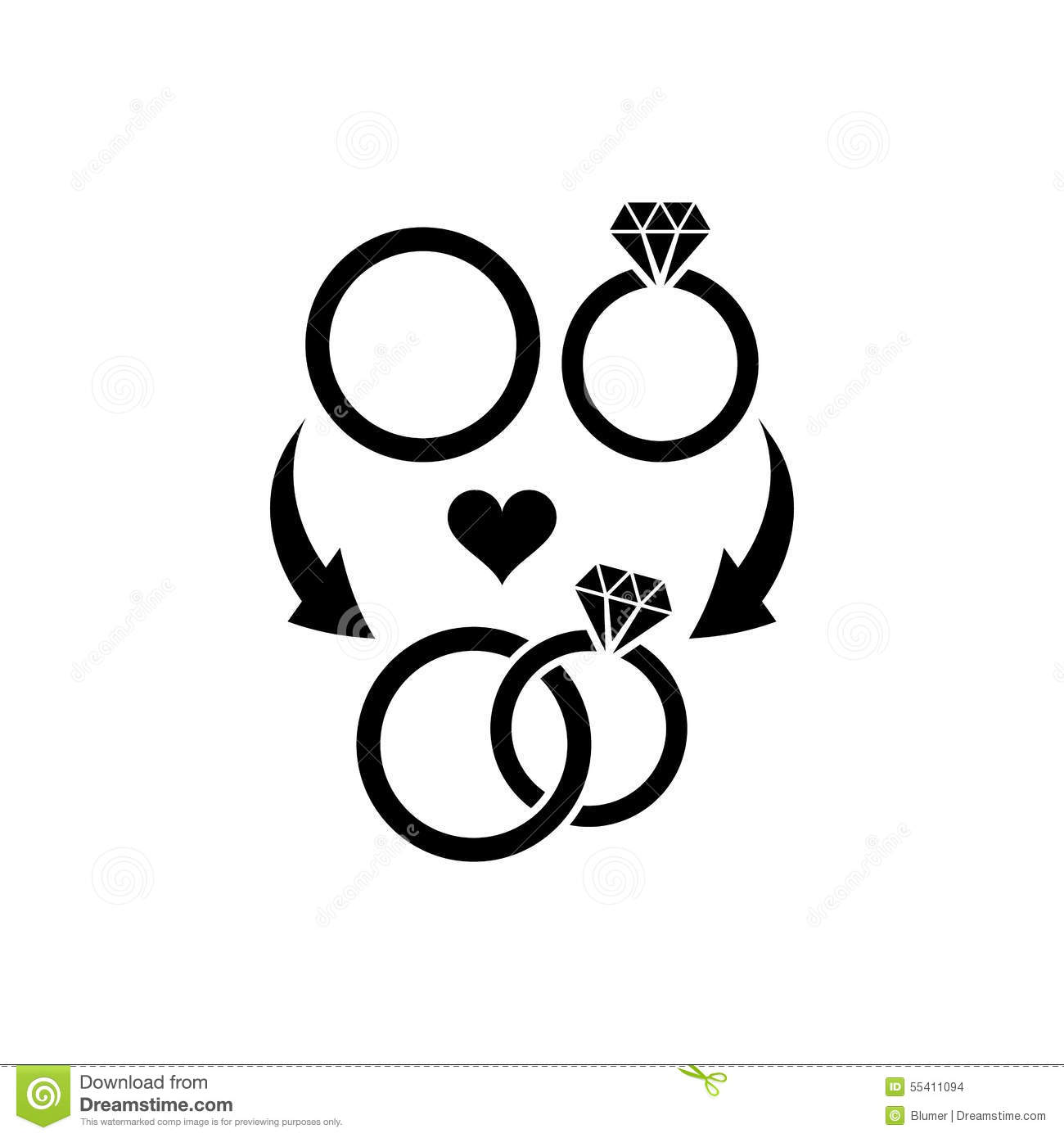 Wedding Rings Symbol Stock Vector - Image: 55411094