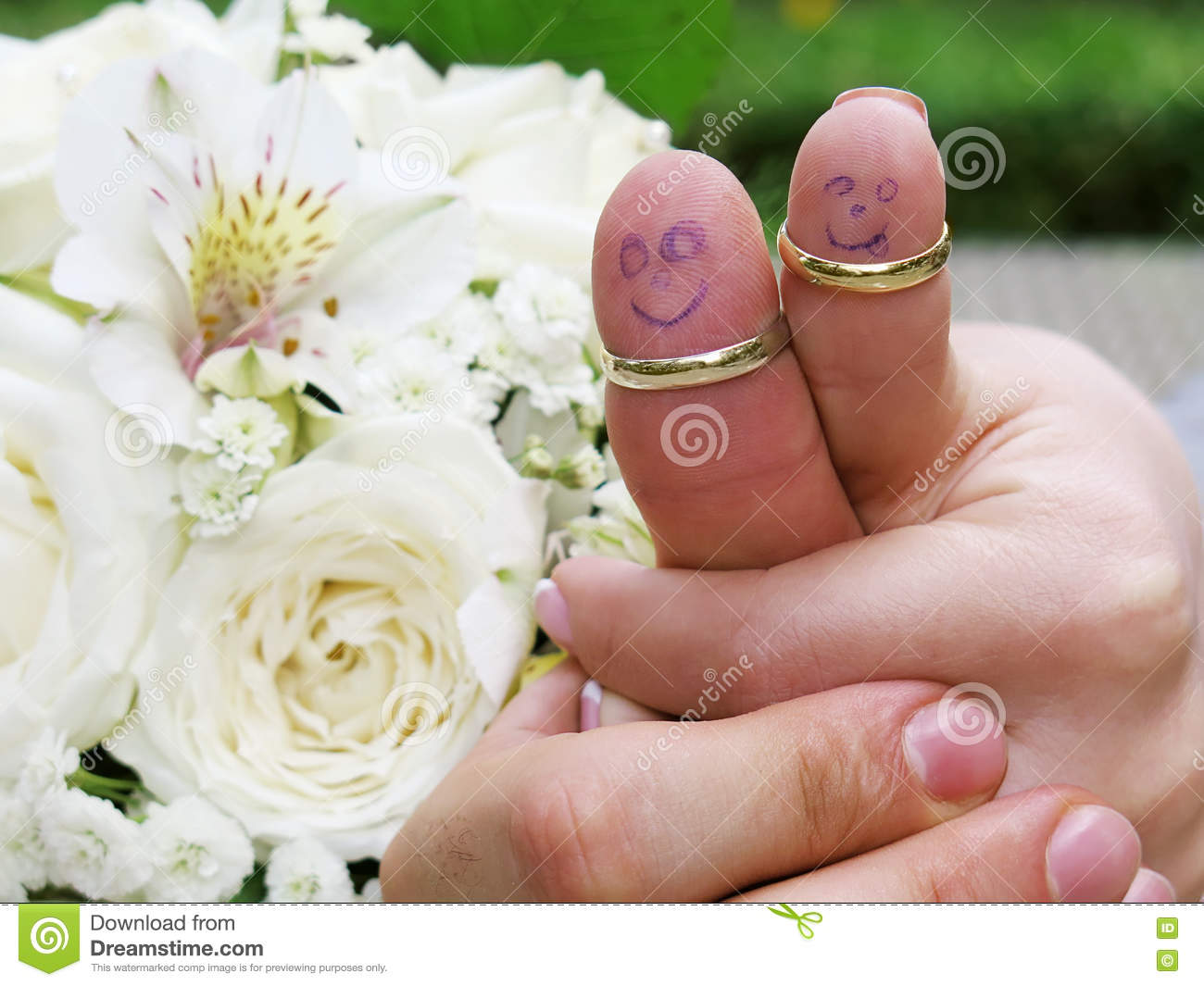Wedding Rings On Their Fingers People Marrieds Bride And Groom, Painted  Funny Little Men Stock