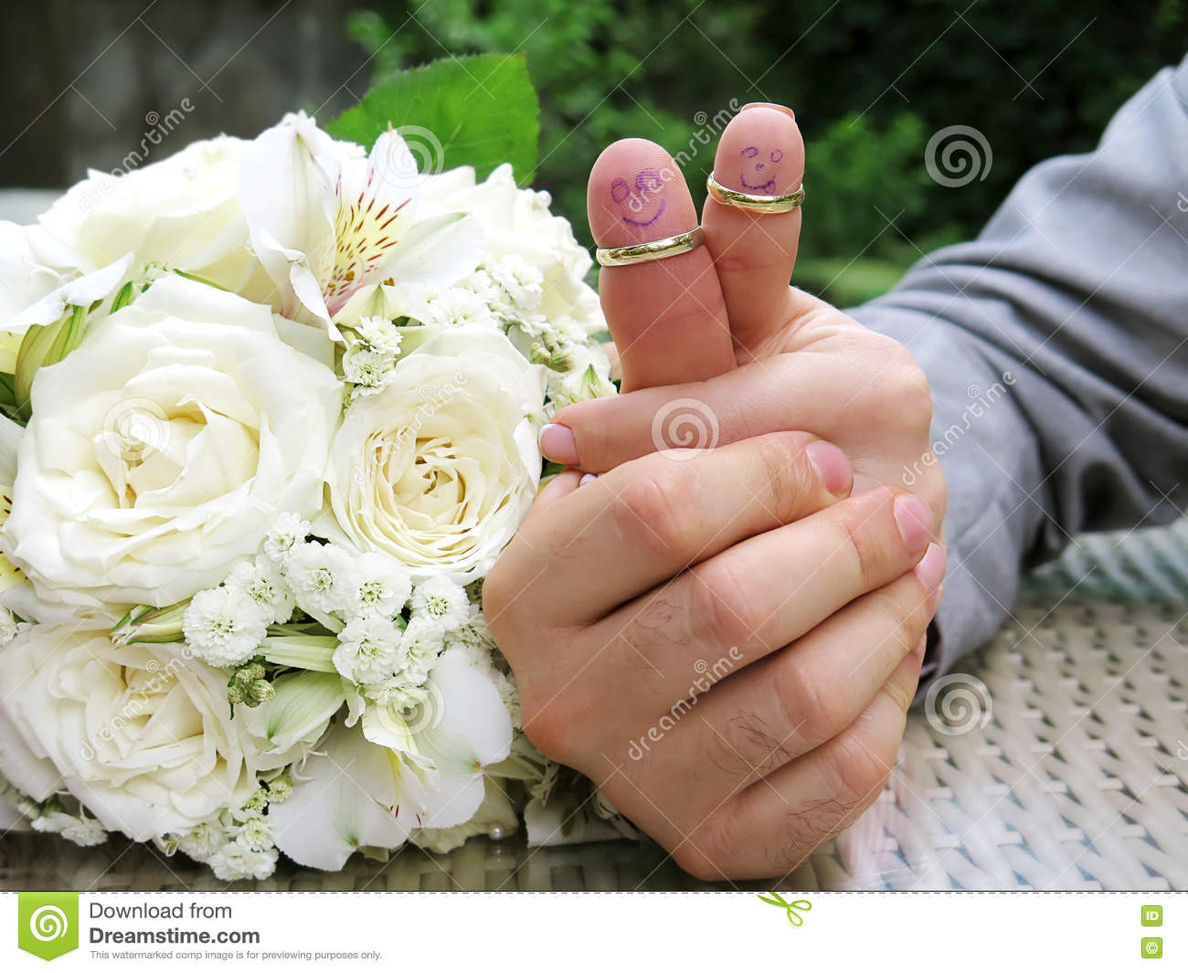 Wedding Rings On Their Fingers People Marrieds Bride And Groom, Painted  Funny Little Men Royalty