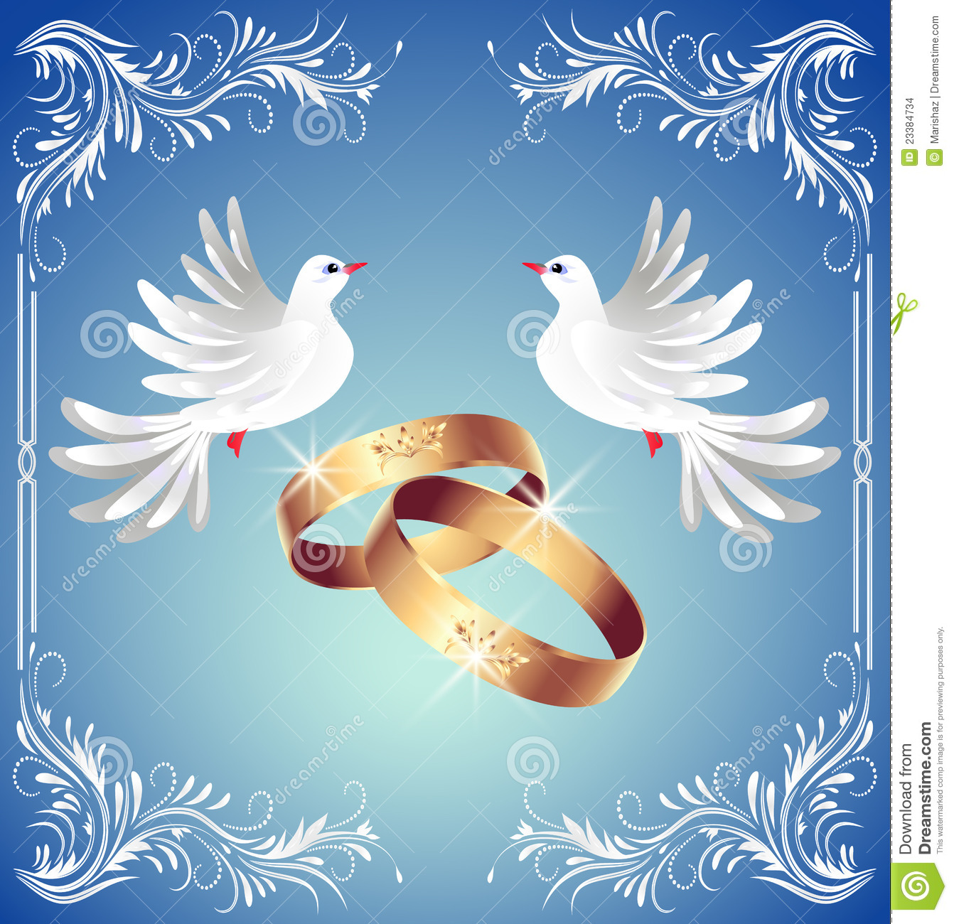 Wedding Rings And Two Doves Stock Vector