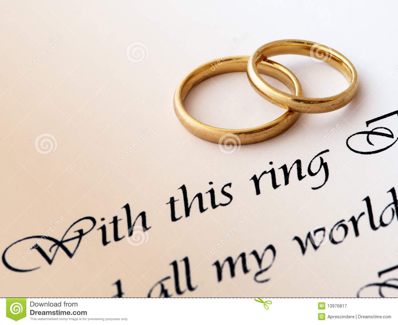 Wedding Rings And Vow Royalty Free Stock Photography - Image: 13976817