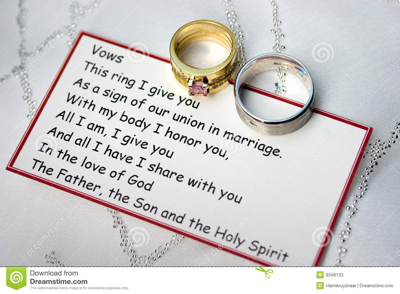 Wedding Rings And Vows On A Card Stock Image Image of forever