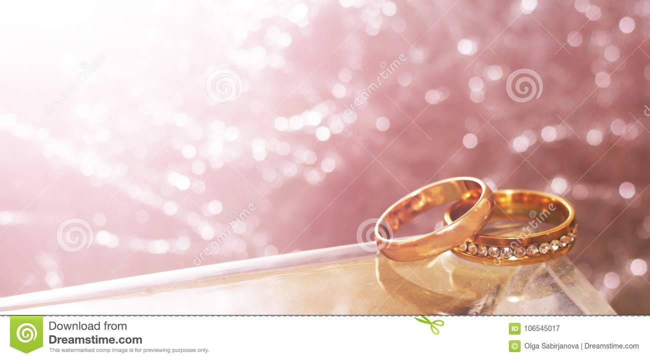 Wedding Rings And Water. Grey Background, Toned Stock Image - Image ...