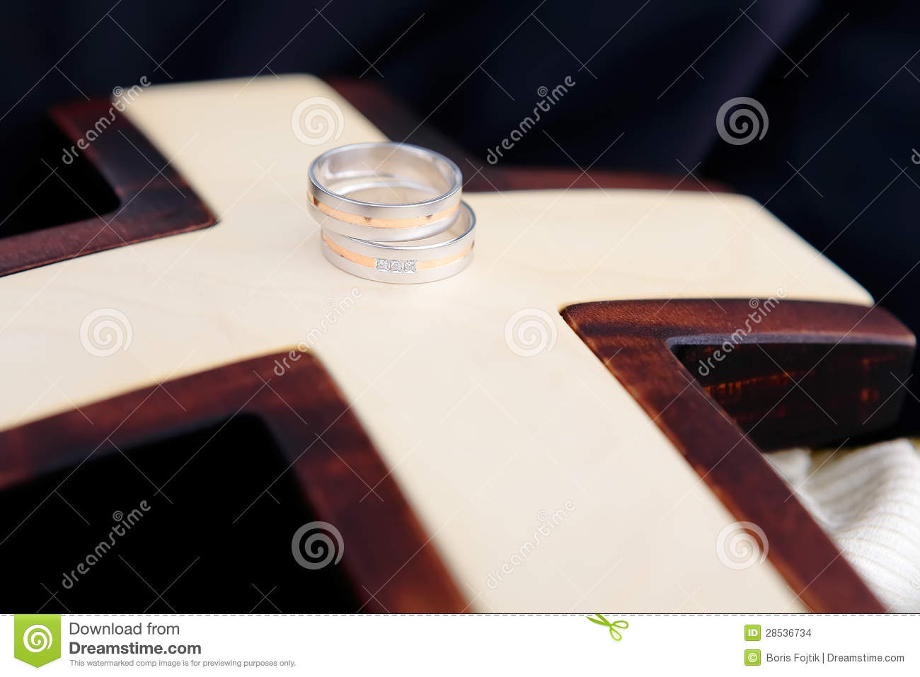 Wedding Rings And Wooden Cross Stock Photo Image Of