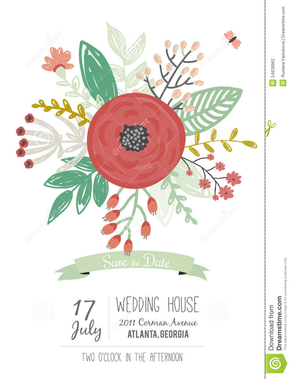 Wedding Romantic Floral Save The Date Invitations Stock Vector ...