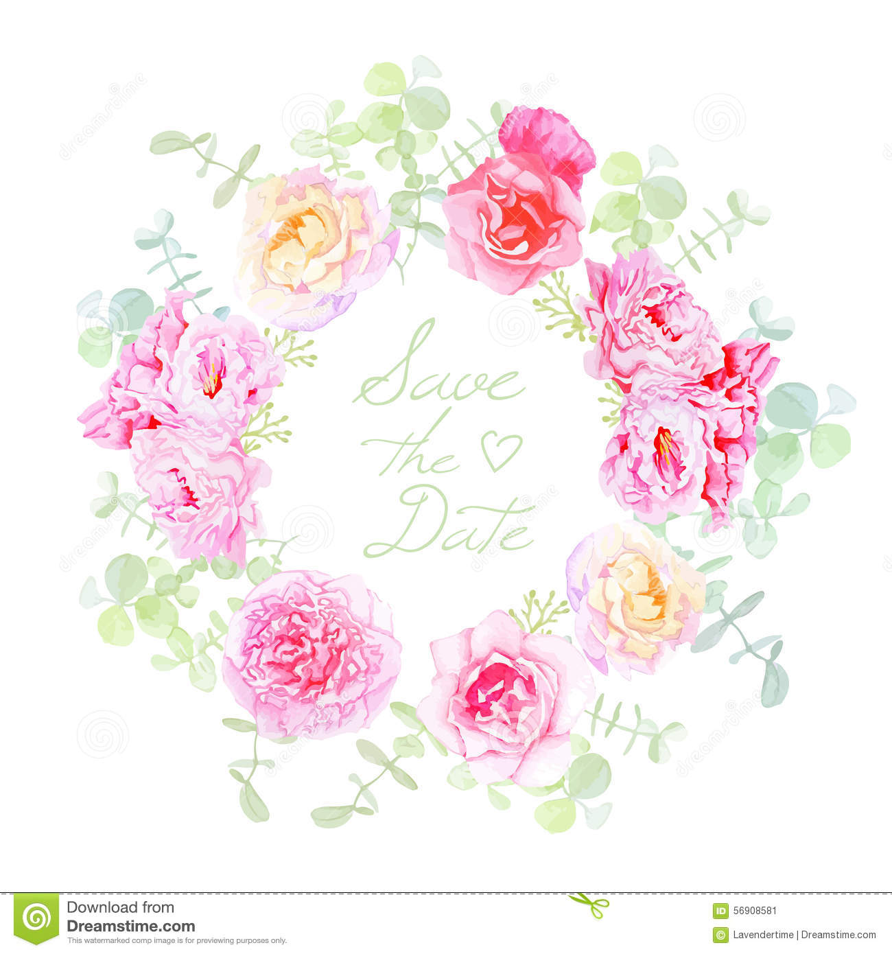 Wedding rose and peonies wreath vector card stock vector for Couronne shabby chic
