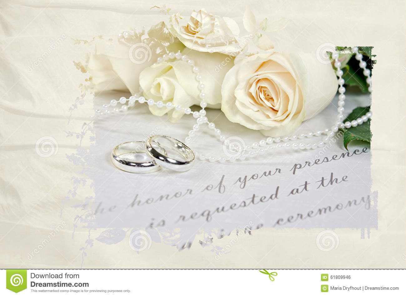 Wedding Rings And White Bridal Roses On Invitation In Satin Mask Frame: Ivory Roses And Wedding Rings At Reisefeber.org