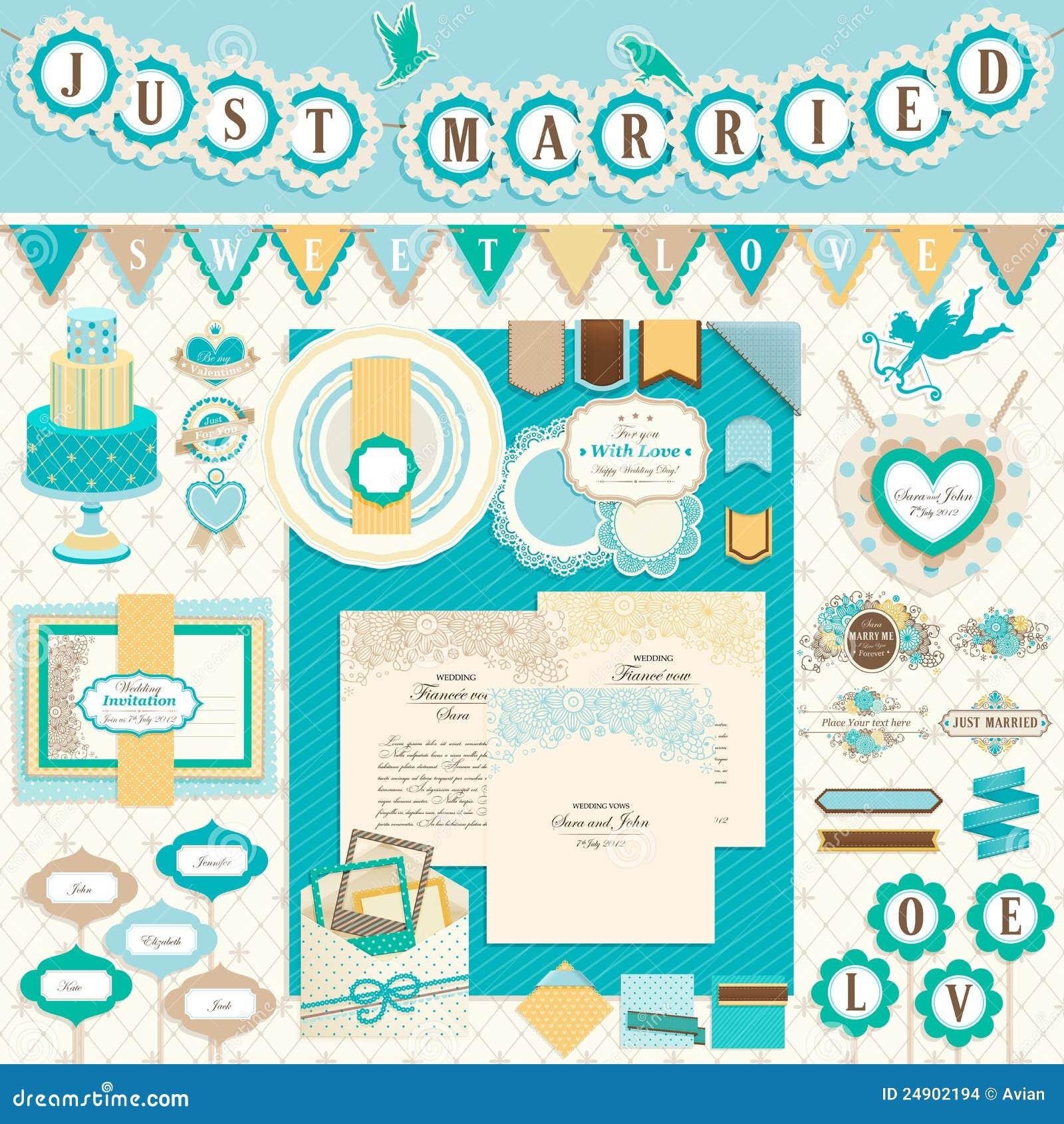 Wedding`s Day Scrapbook Elements Stock Images