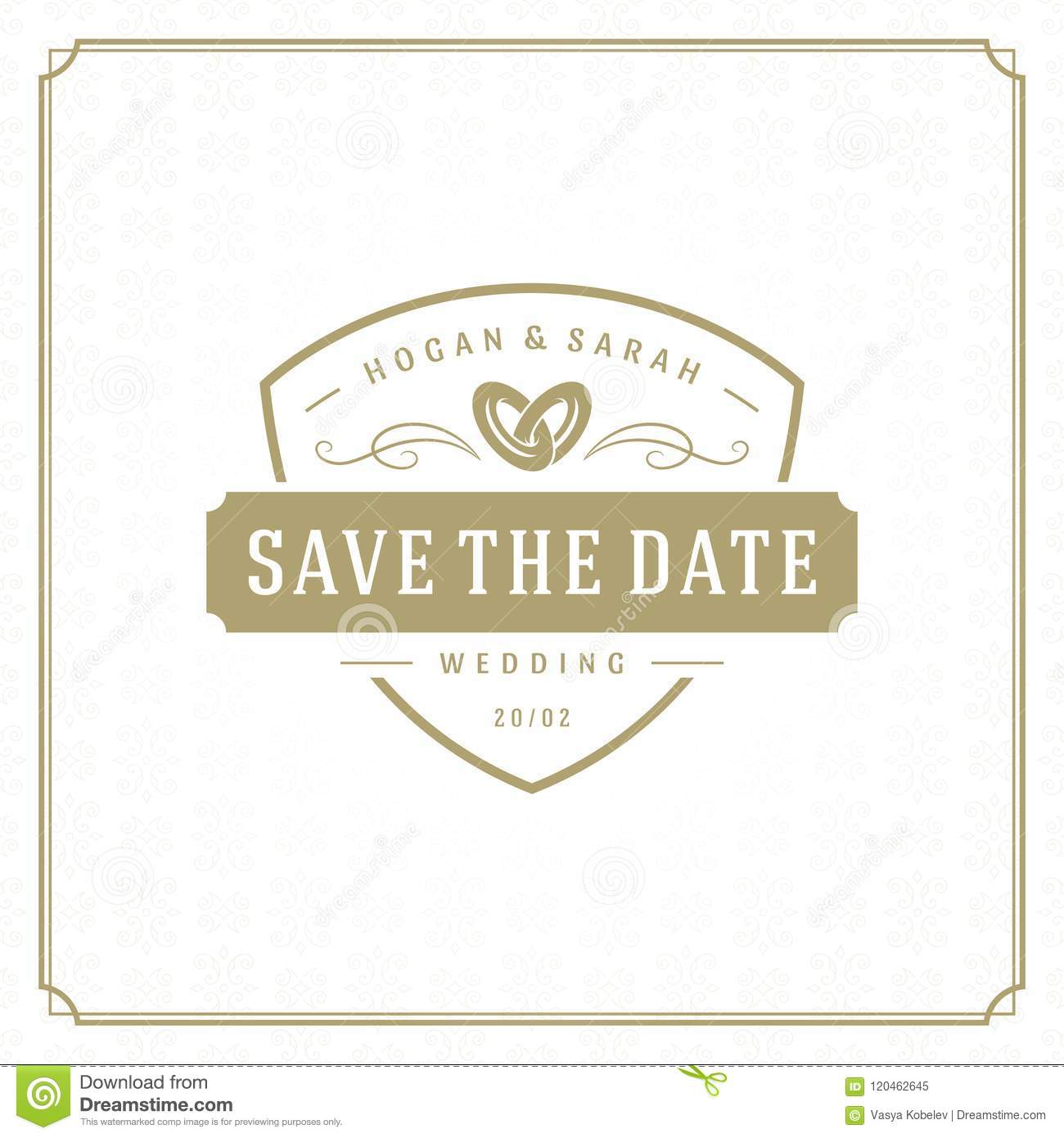 wedding save the date invitation card design template vector