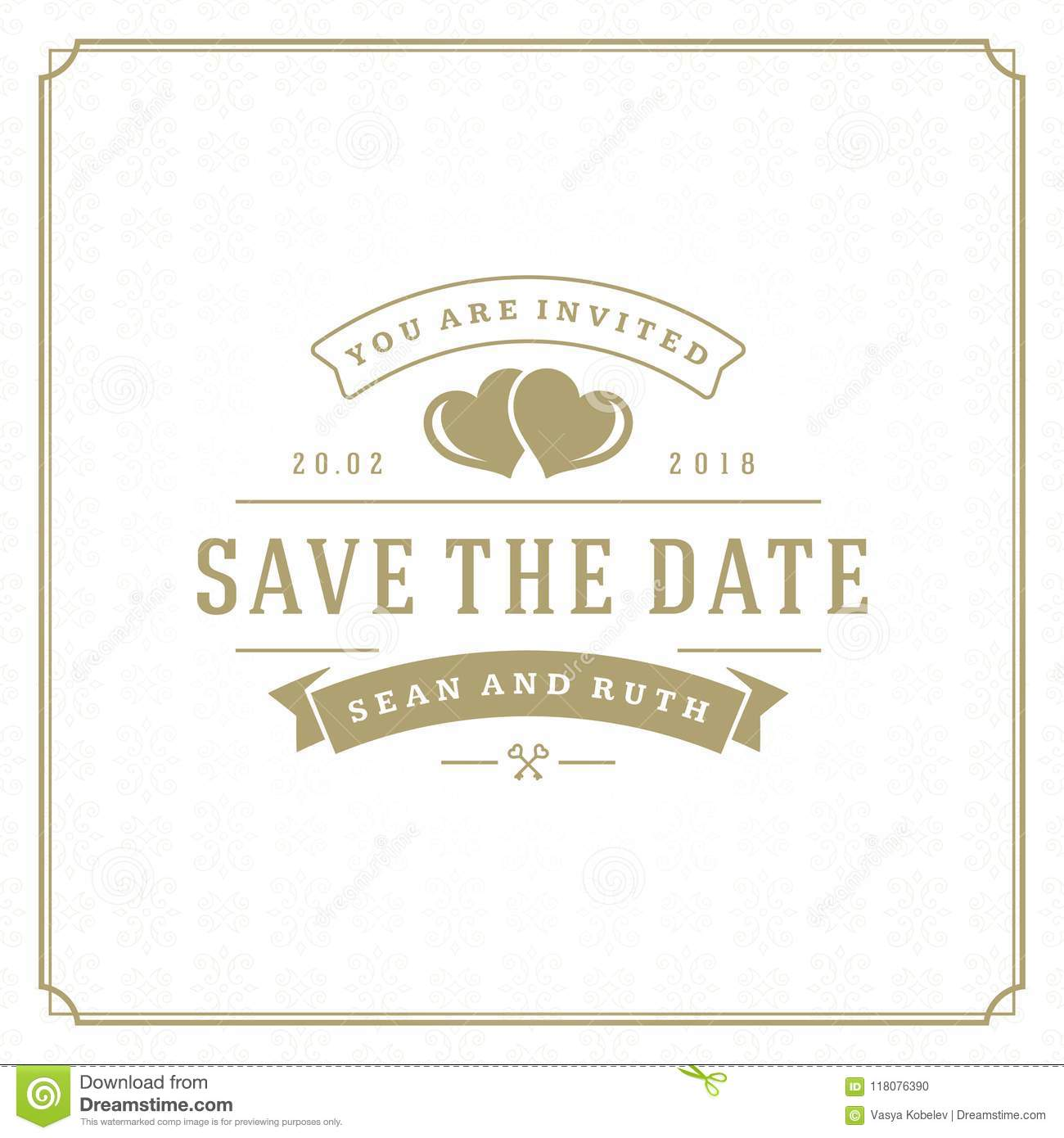 wedding save the date invitation card vector illustration stock
