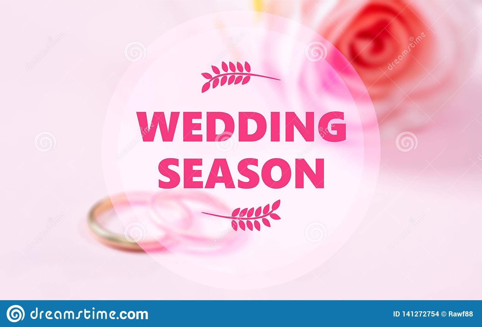 438734ca340e1 Wedding season is here. Wedding season text on blur wedding rings and pink  rose background