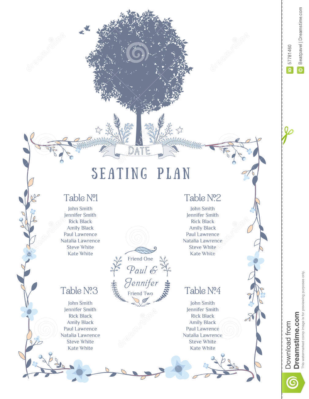 Stock Illustration Wedding Seating Chart Includes Tables List Tree ...