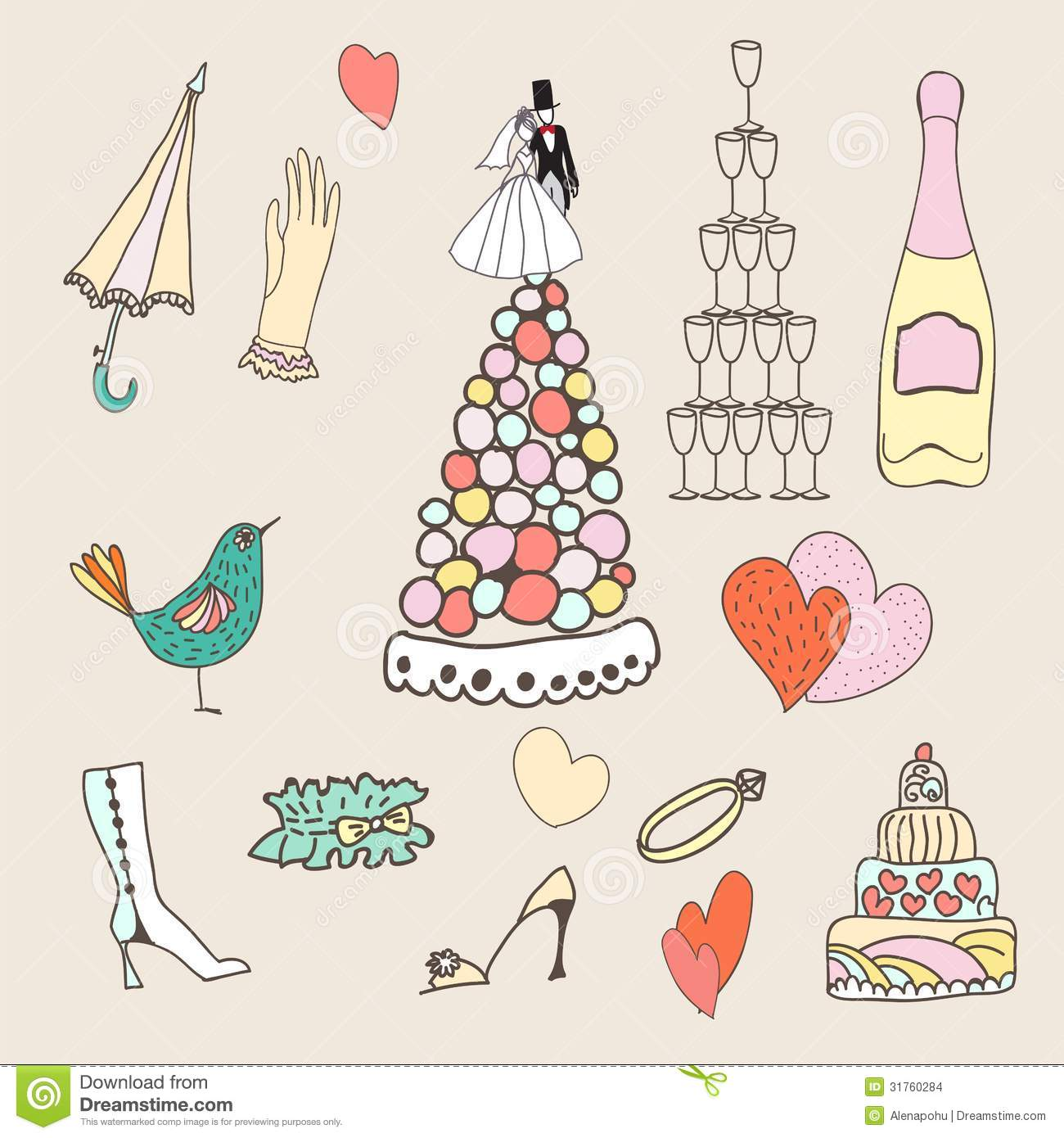 Wedding Set Of Cute Hand Drawn Icons Stock Vector - Image ...