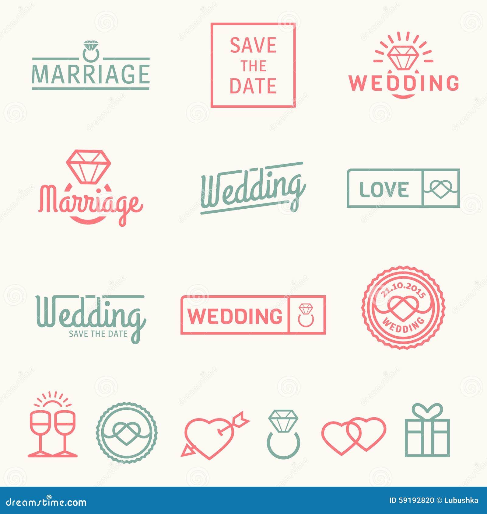 Wedding set icons and logos stock vector illustration of wedding set icons and logos m4hsunfo