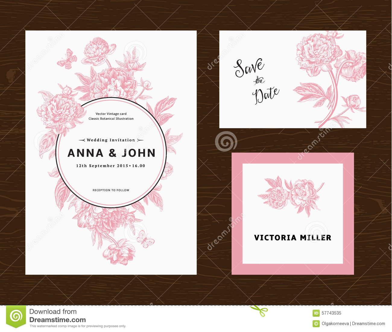 Wedding Set Menu Save The Date Guest Card Stock Vector