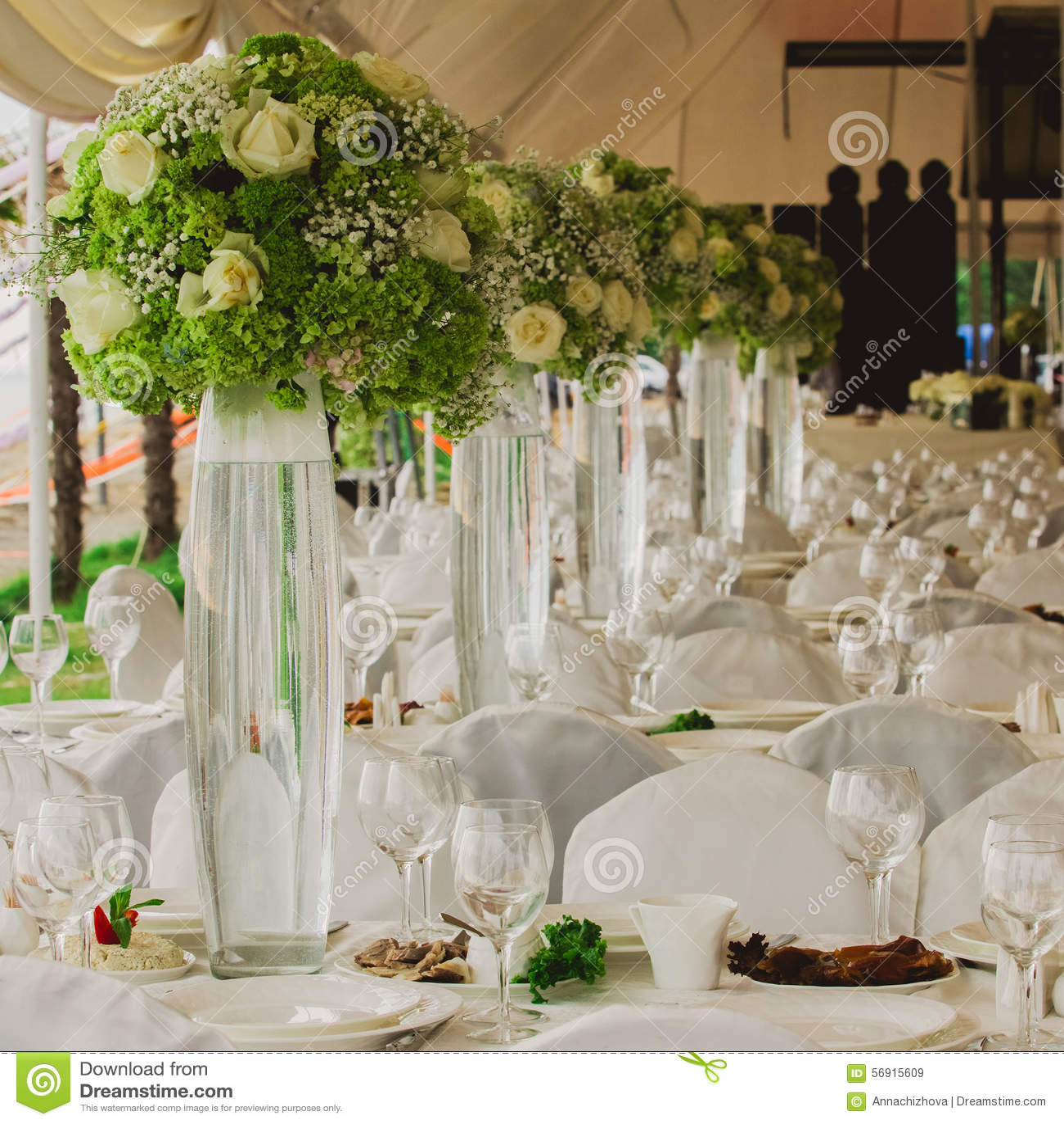 Wedding Set Up In Garden Inside Beach Stock Photo Image