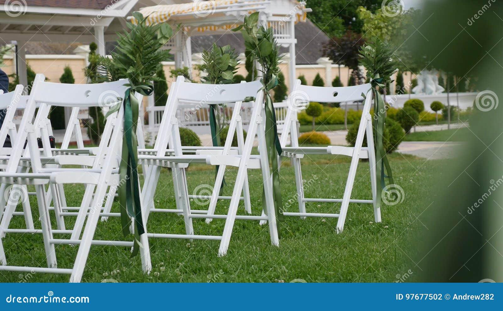 Wedding Aisle Decor.Wedding Set Up In Garden Park Outside Wedding Ceremony