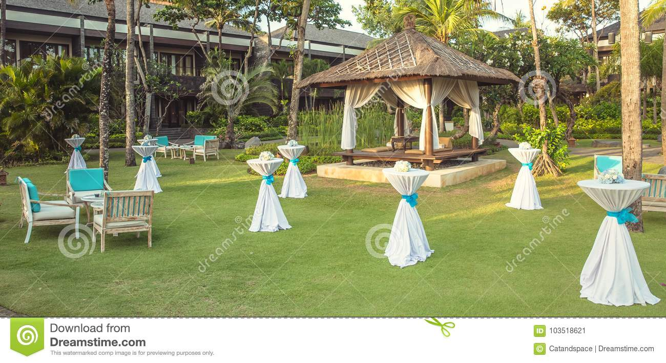 Wedding Set Up In The Garden Party Set Up Stock Image Image Of