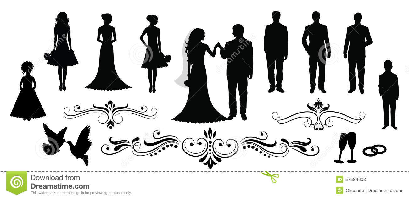 Wedding Party Silhouette Vector | www.imgkid.com - The ...