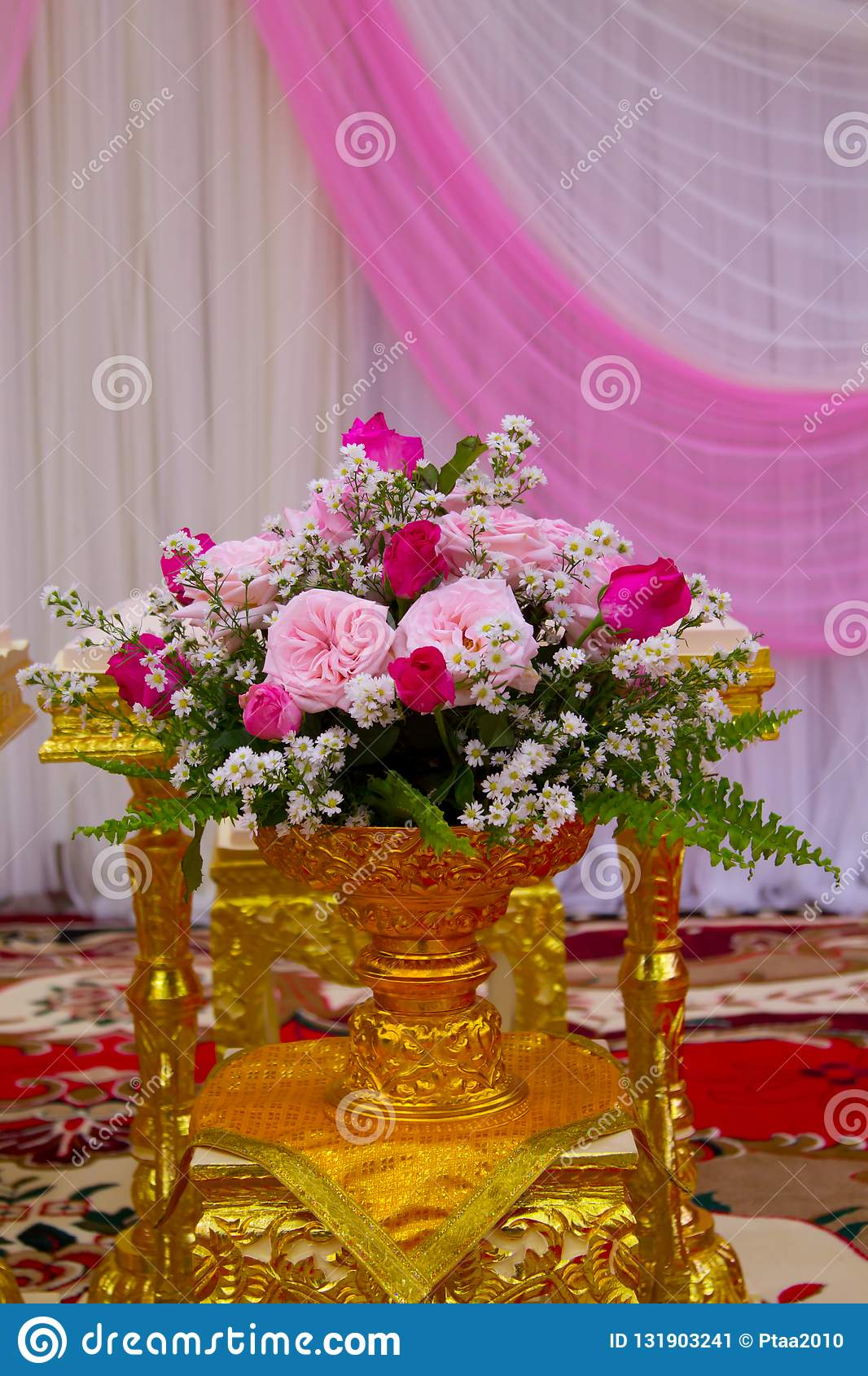Wedding Setup Detail In Thailand Colorful Flower In The