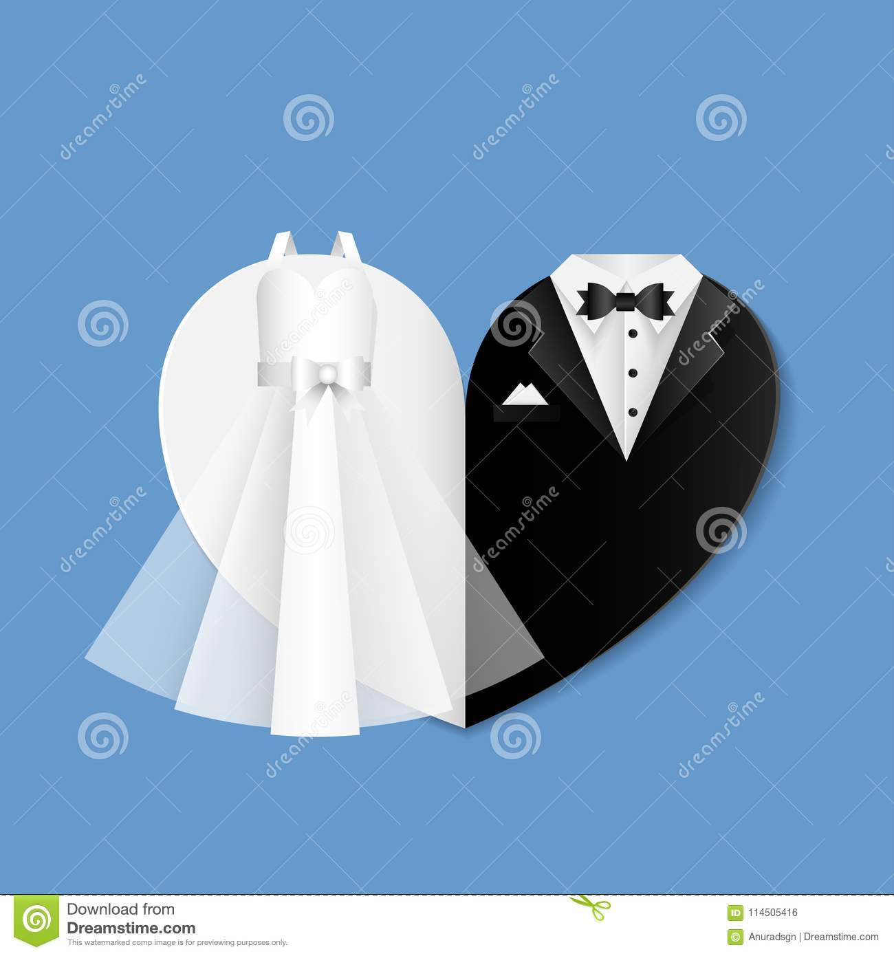 Wedding Shape Of Heart Illustration - Clothes Of The Bride And Groom ...