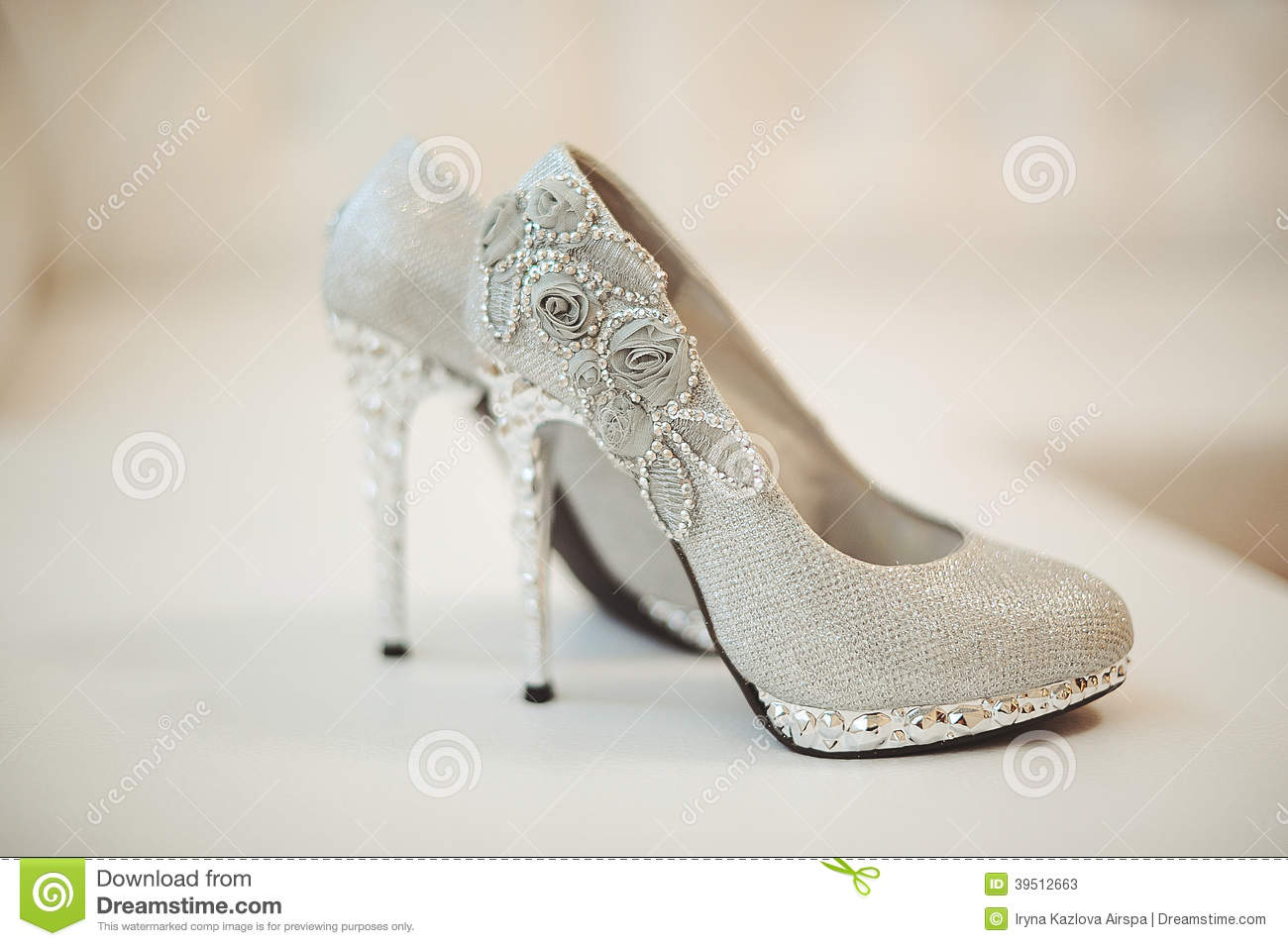 Wedding shoes of the bride
