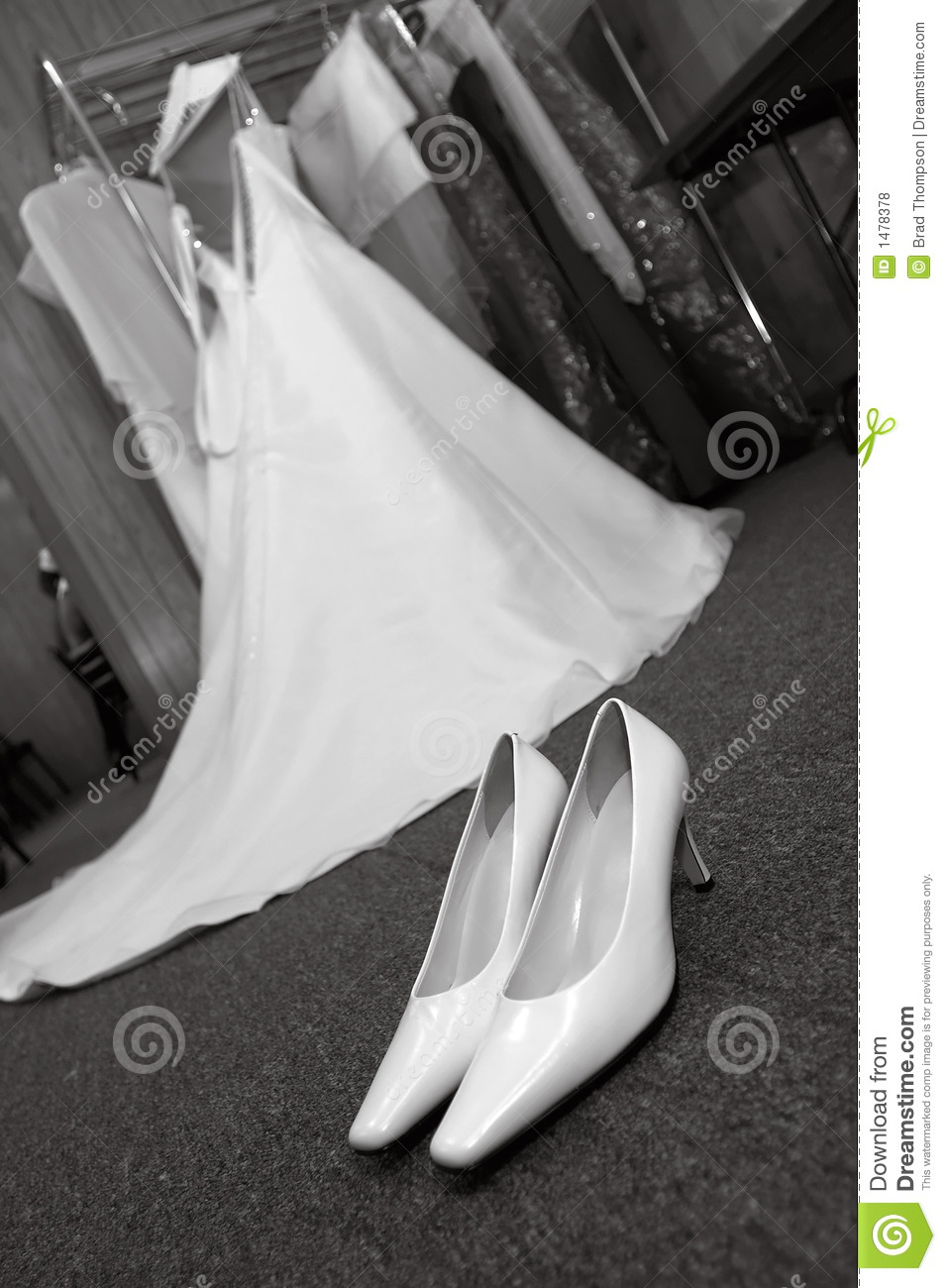Wedding Shoes and Dress (black and white)