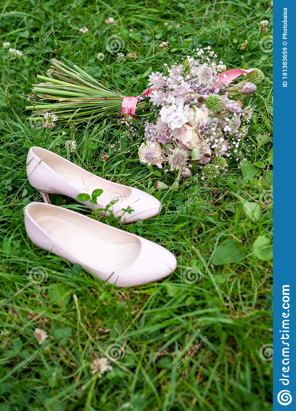 Wedding Shoes And Purple White And Pink Boho Bouquet On Green Grass Background Beautiful Bouquet Of Wild Flowers And Pump Court Stock Image Image Of Colorful Background 181383659