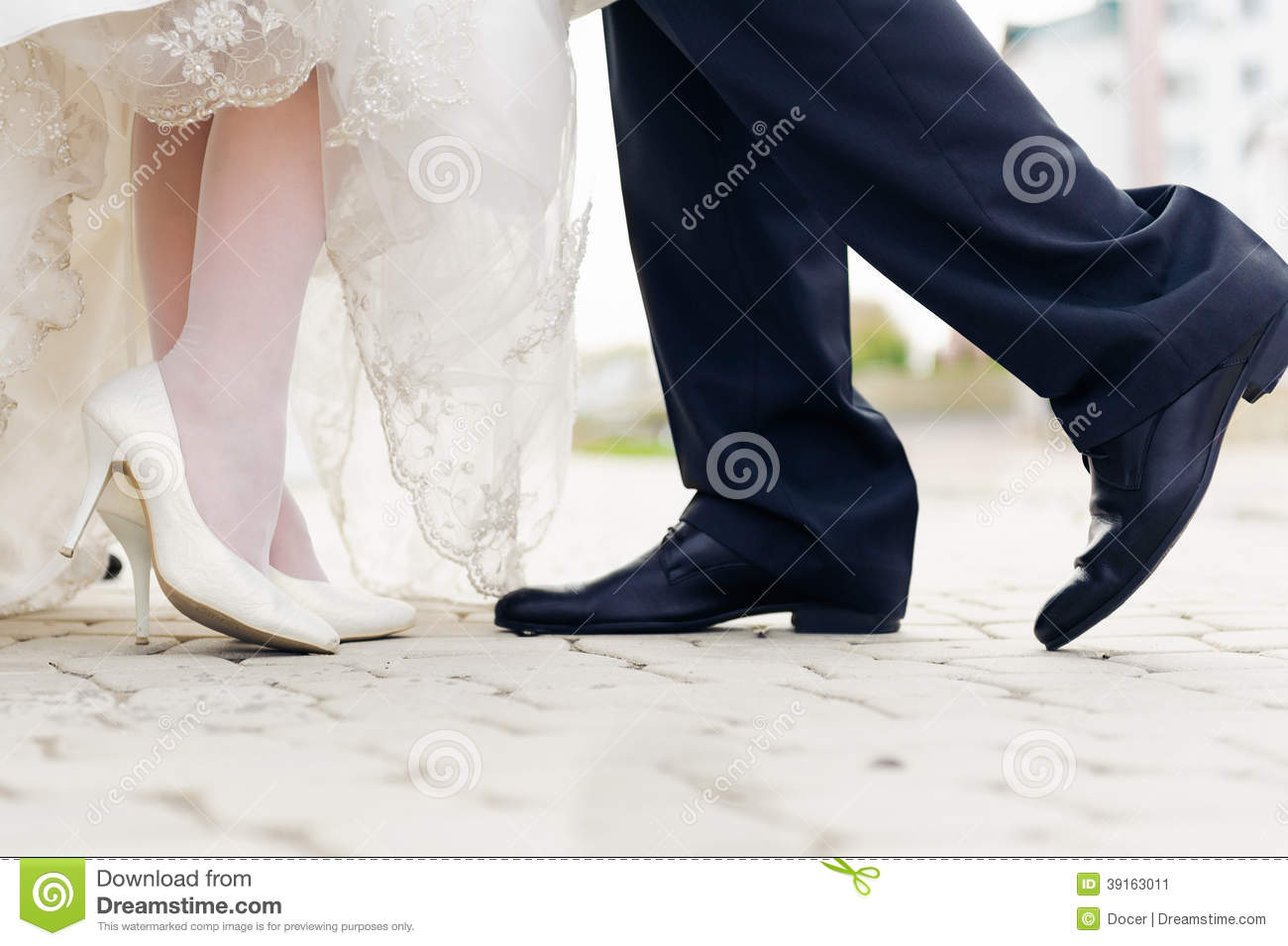 Wedding Shoes In A Standing Bride And Groom Stock Image Image Of