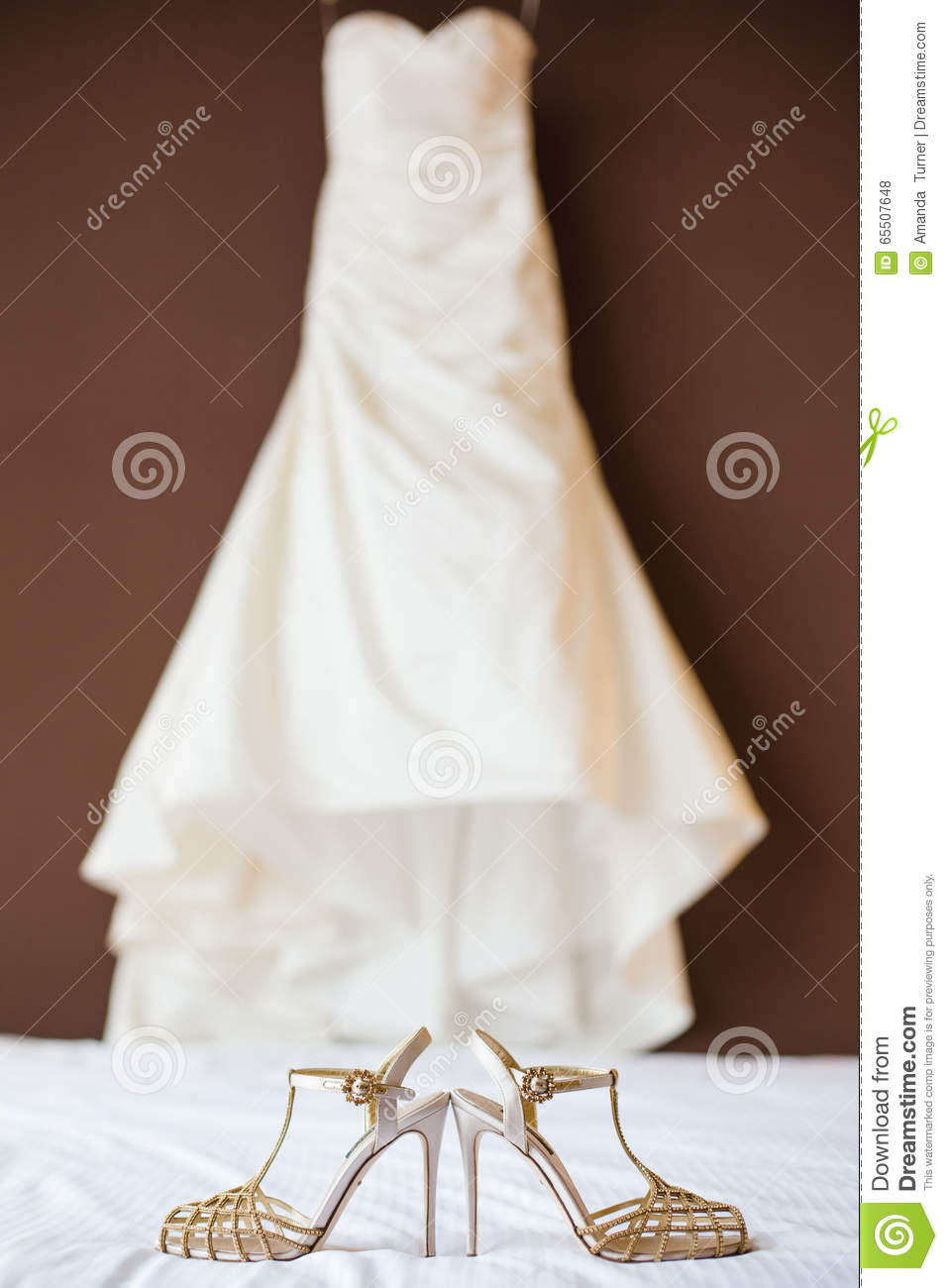 335e71219f94 Wedding Shoes And Wedding Dress Stock Photo - Image of hanging ...