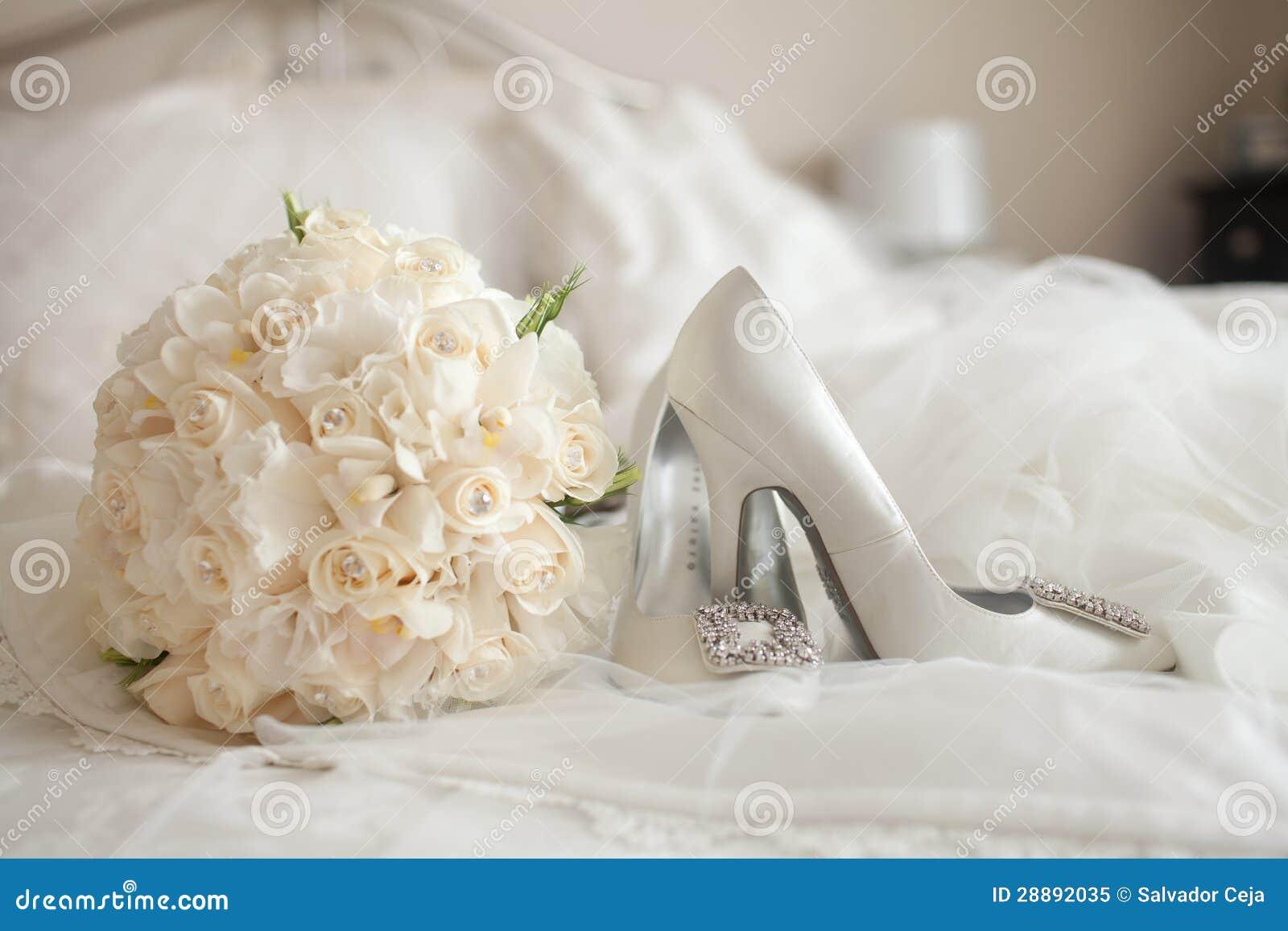Wedding Bouquet Of White Roses Wedding Shoes white rose