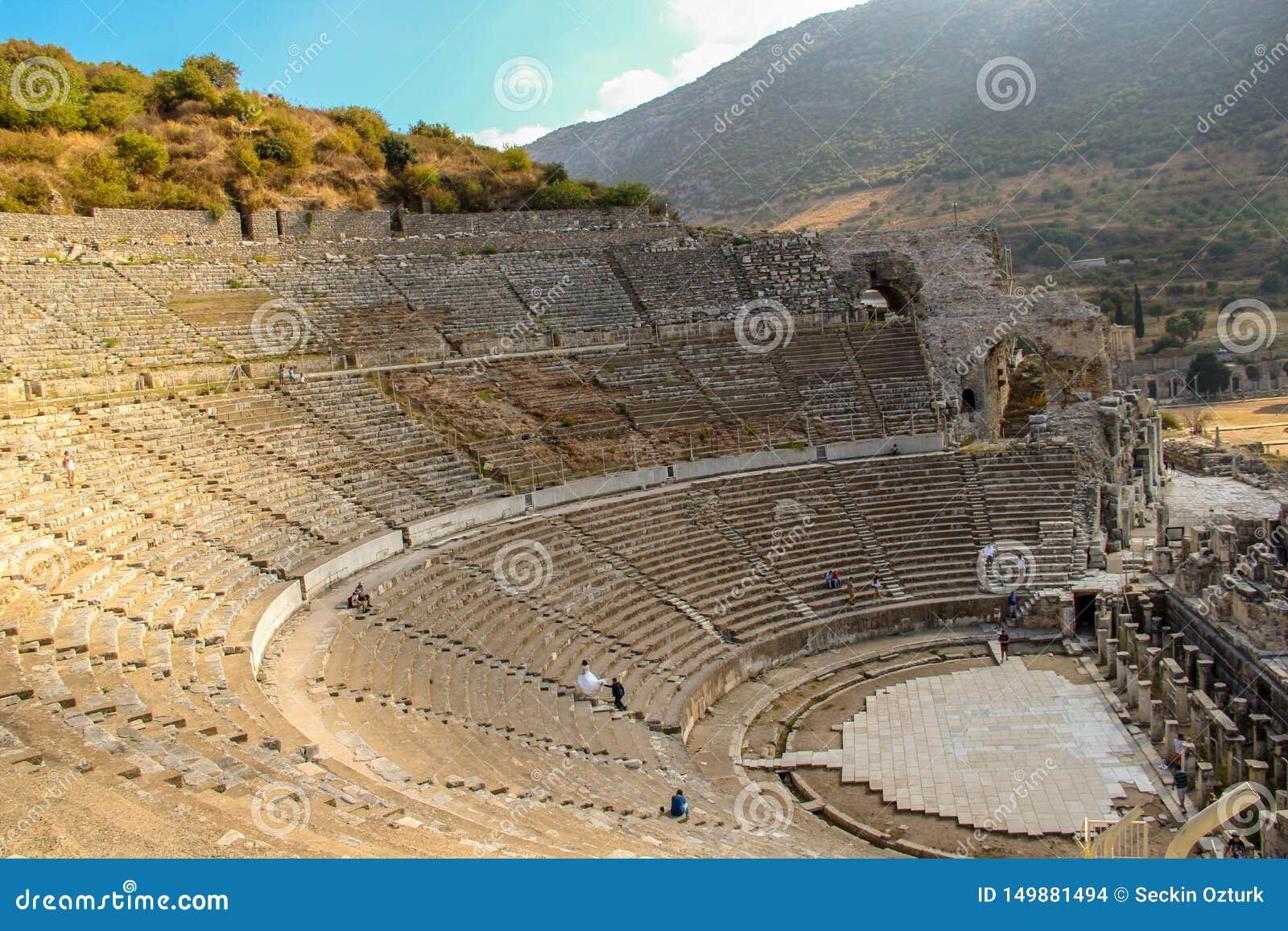 Wedding shooting in greek amphitheater Ephesus