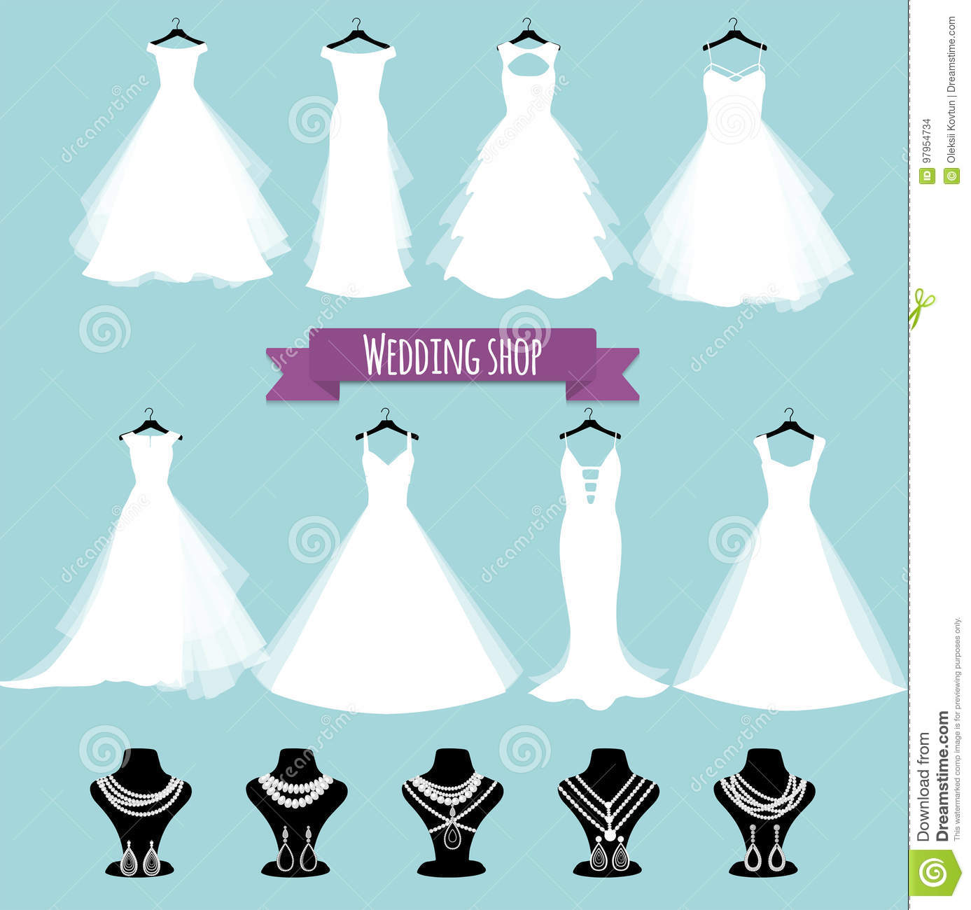 Wedding Shop. Vector Illustration, Eps 10. Wedding Dress And Jewelry ...