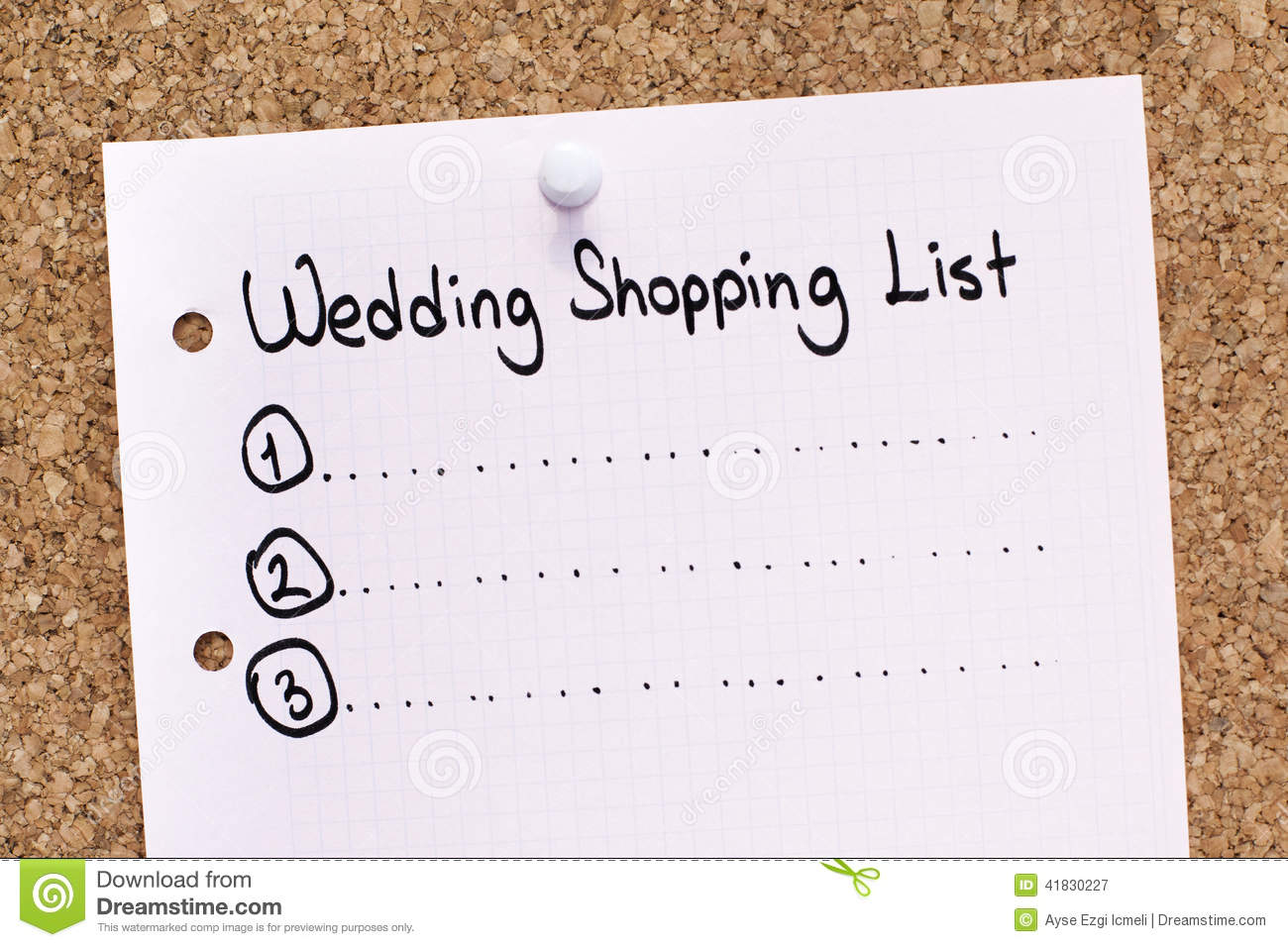 wedding shopping list stock image image of checklist 41830227